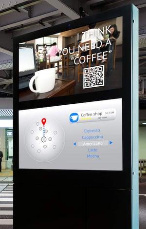 Borne d'affichage dynamique pour café